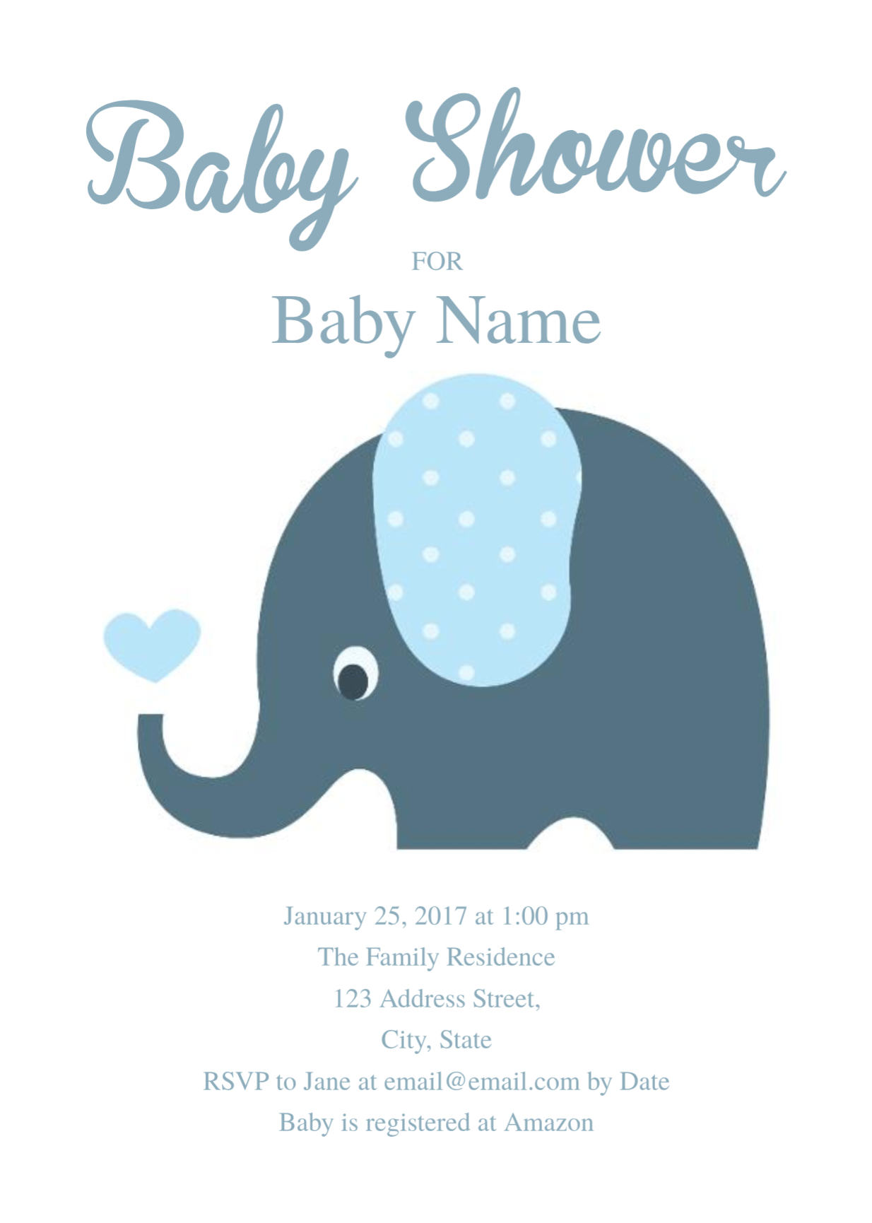 Cute Elephant Baby Shower Invitation Template | Free Invitation - Free Printable Elephant Baby Shower Invitations