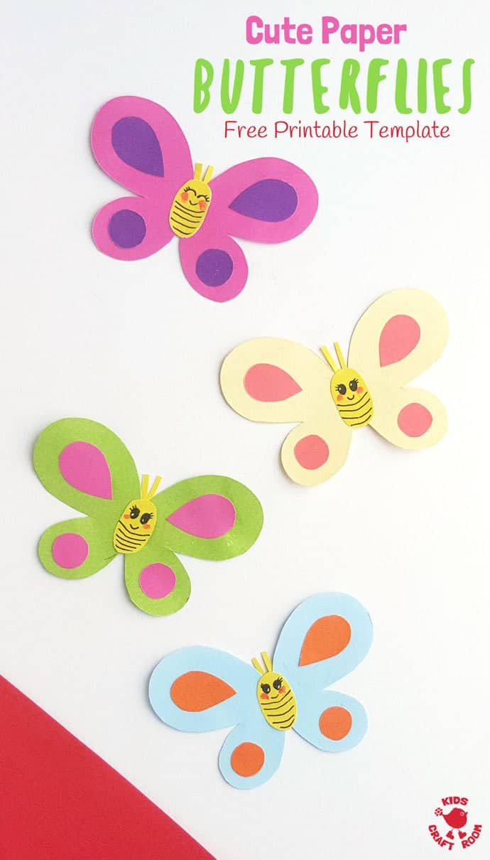 Cute Paper Butterfly Craft - Kids Craft Room - Free Printable Butterfly Cutouts