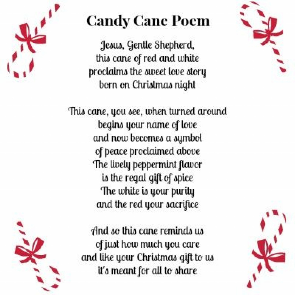 Cute Printable Candy Cane Poem Along With A Free Printable Coloring - Free Printable Candy Cane Poem