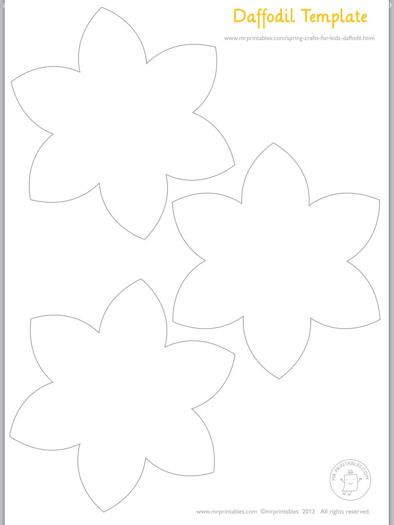 Daffodils Template | Art | Daffodil Craft, Daffodil Day, Flower Template - Free Printable Pictures Of Daffodils