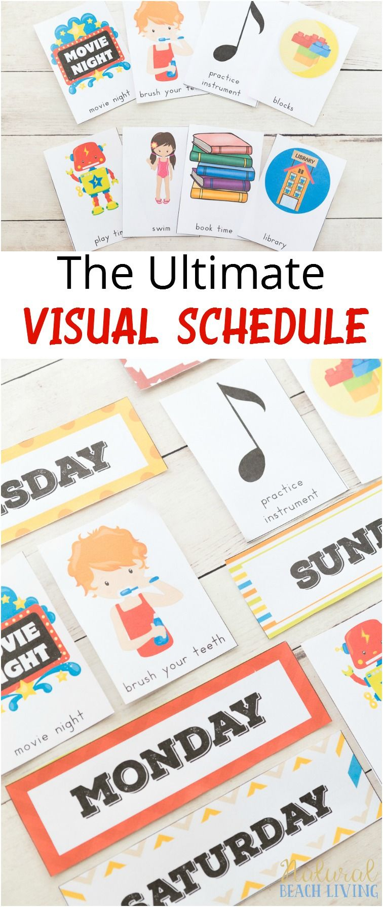 Daily Visual Schedule For Kids Free Printable | Routine Enfant - Free Printable Schedule Cards