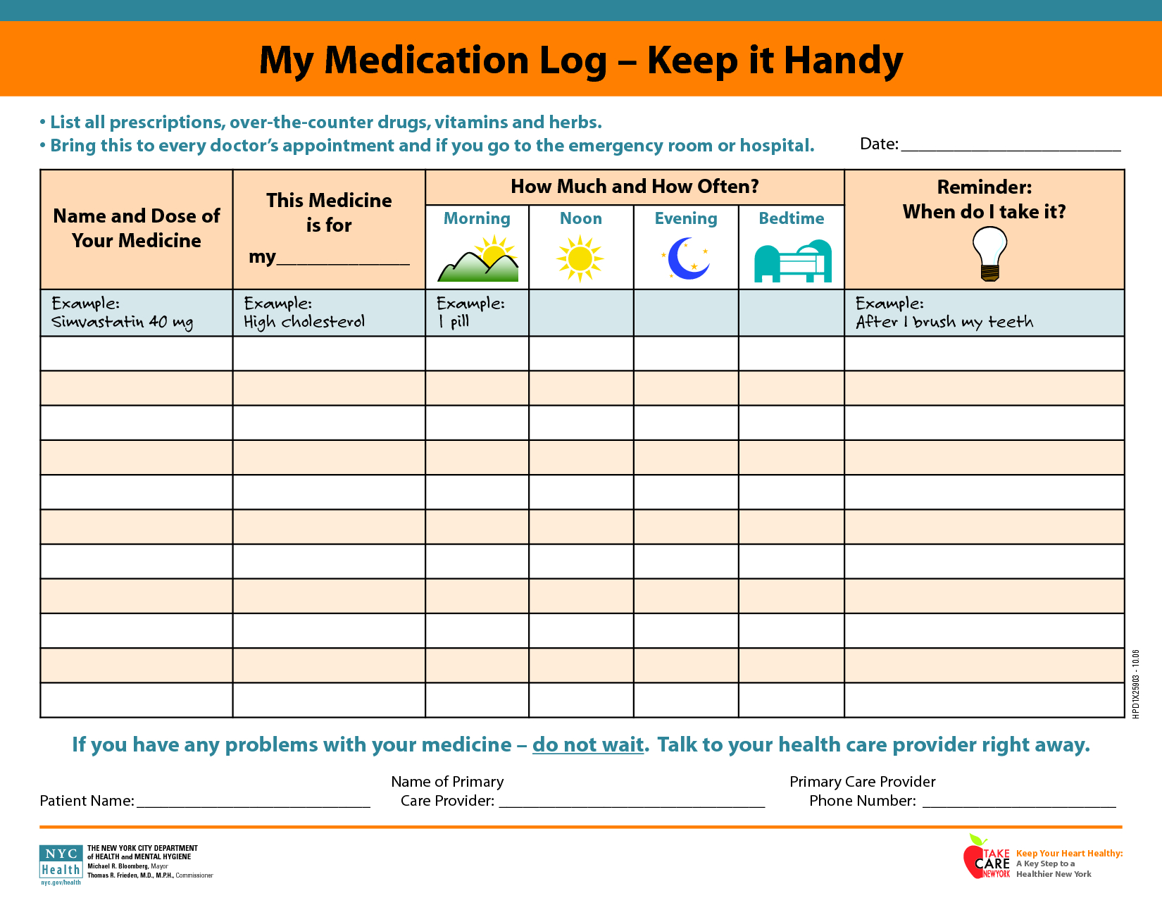 Daily+Medication+Schedule+Template | Printables | Pinterest | Daily - Free Printable Daily Medication Chart