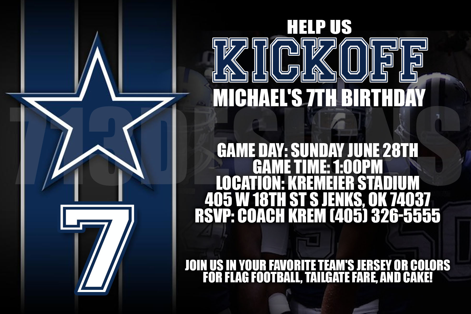 Dallas Cowboys Birthday Invitation - Free Printable Dallas Cowboys Birthday Invitations