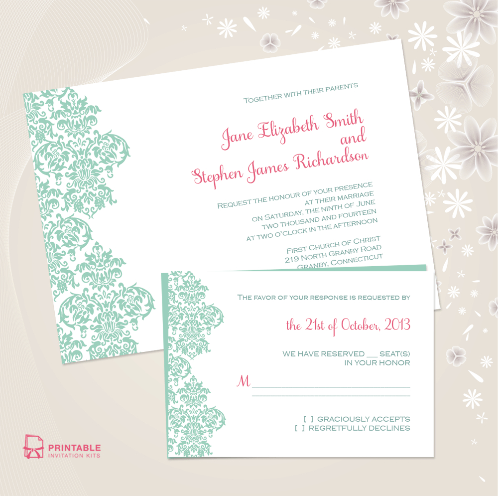 Damask Border Invitation And Rsvp Set ← Wedding Invitation - Free Printable Wedding Invitation Kits