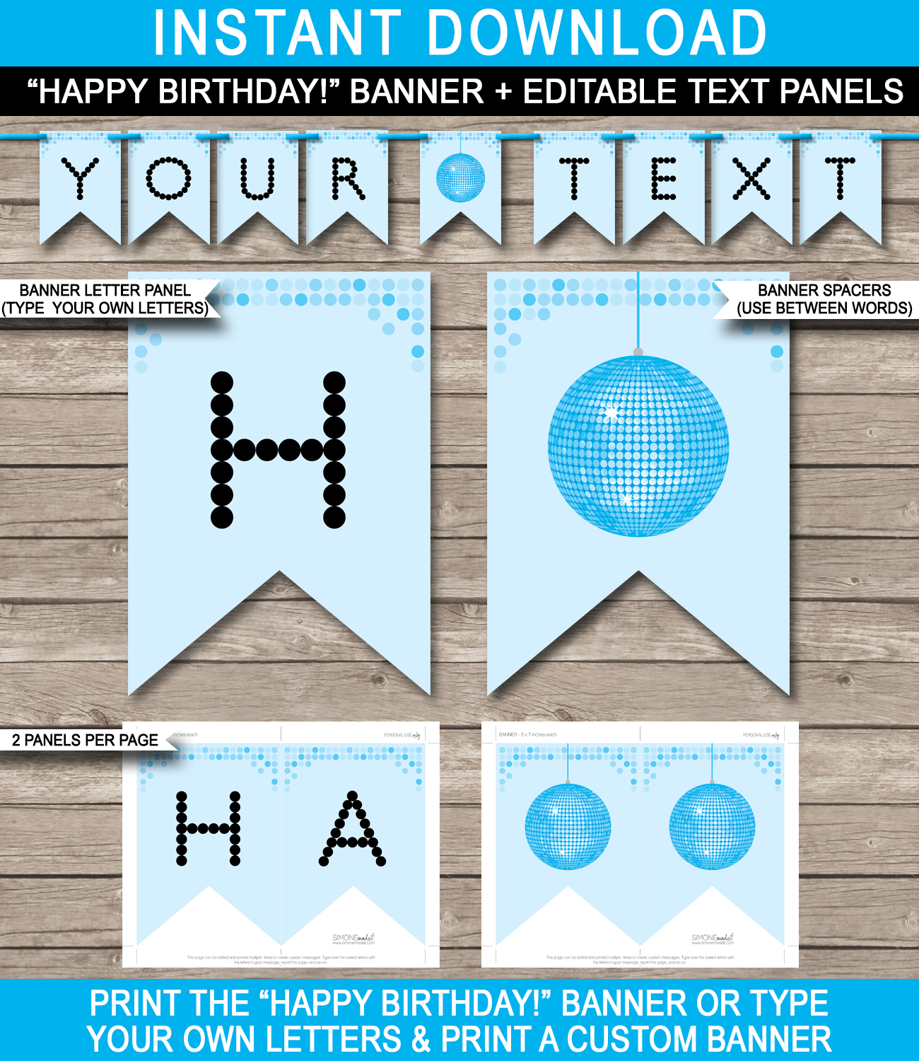 Dance Banner Template | Blue Disco | Birthday Banner | Editable - Free Happy Birthday Printable Letters