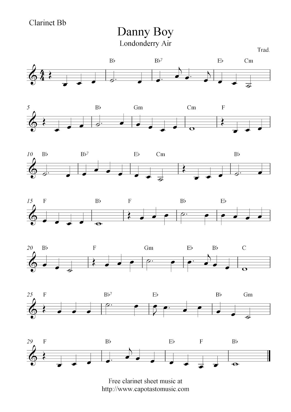 Danny Boy (Londonderry Air), Free Clarinet Sheet Music Notes - Free Printable Clarinet Sheet Music