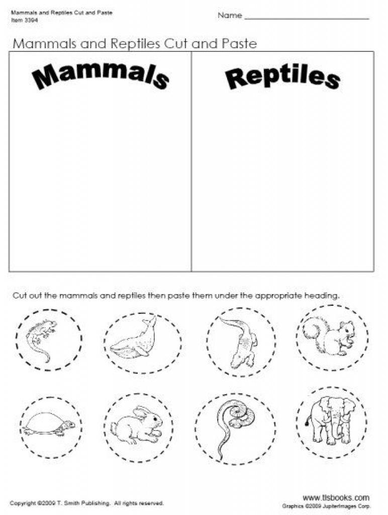 Day 32- Mammal And Reptiles Cut And Paste Worksheet | Preschool Josh - Free Printable Reptile Worksheets