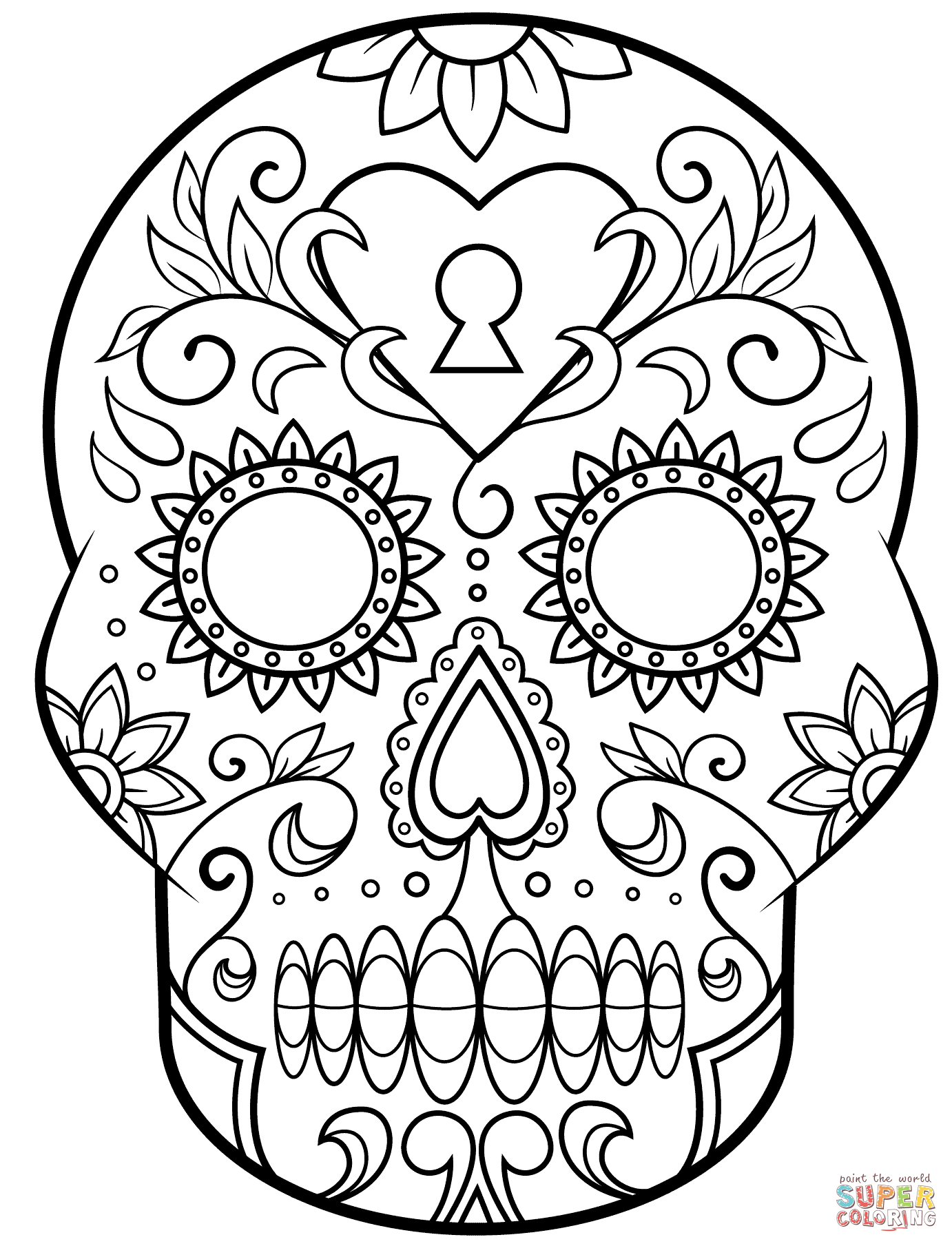 Day Of The Dead Sugar Skull Coloring Page | Free Printable - Free Printable Sugar Skull Coloring Pages