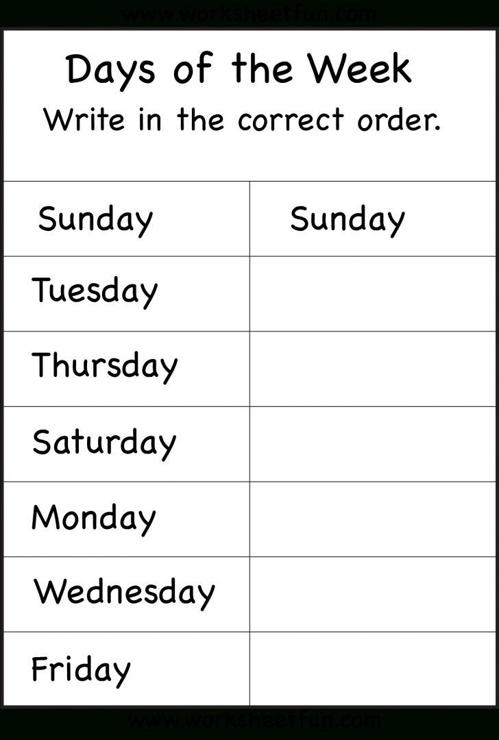 Free Printable Days Of The Week