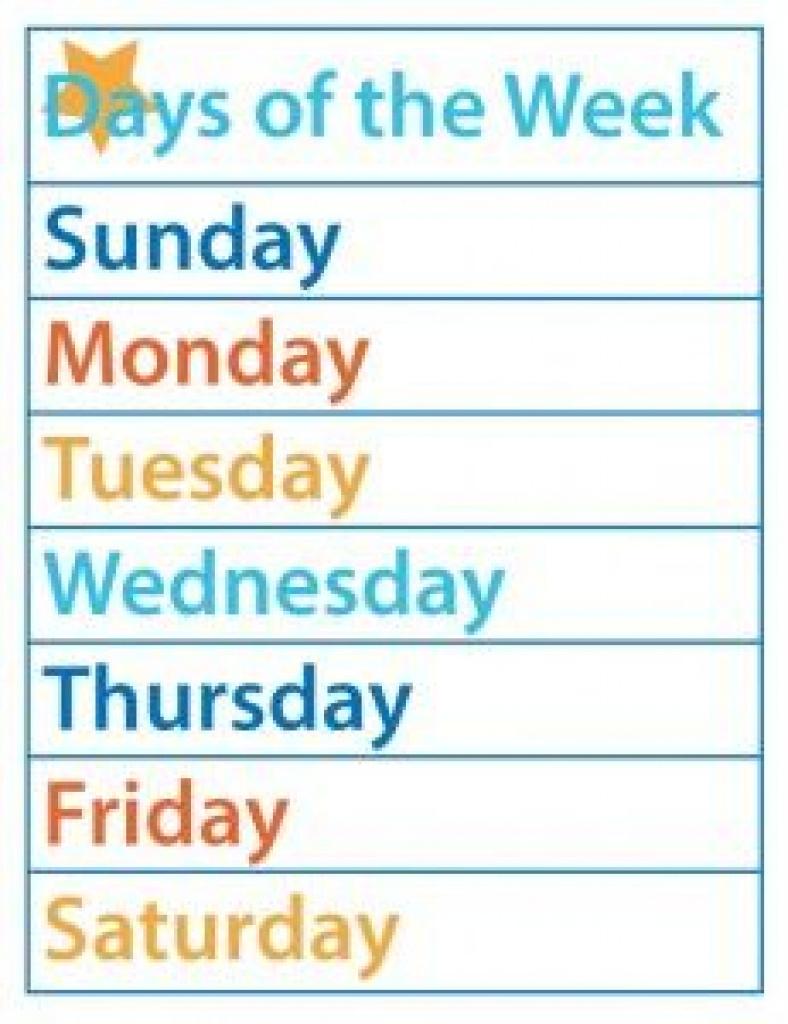 Days Of The Week – Free Printable | Kid Fun | Pinterest | Free For - Free Printable Months Of The Year Chart