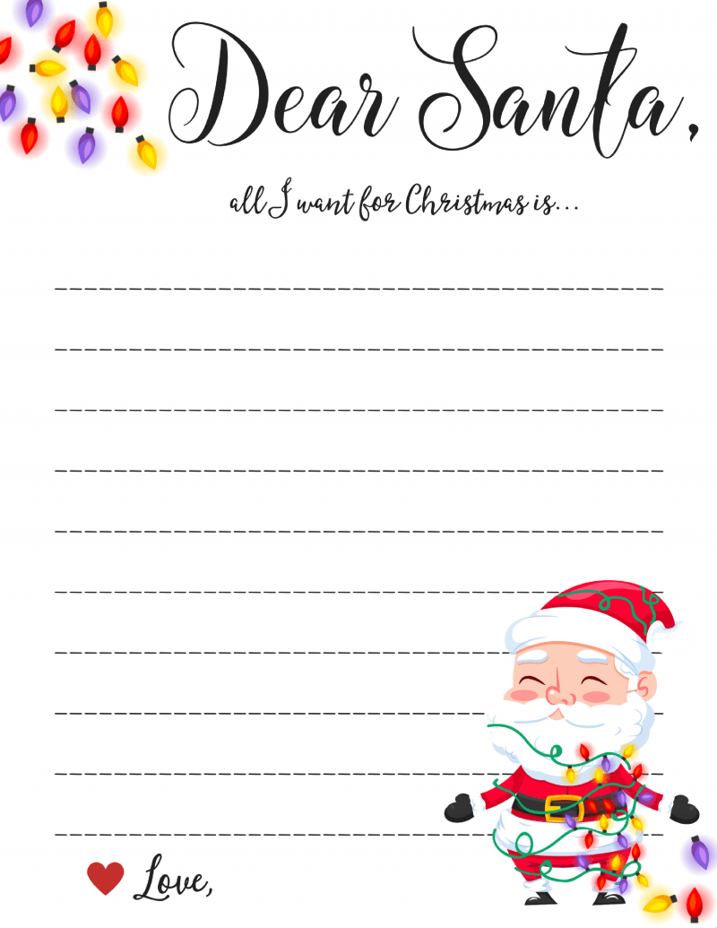 Dear Santa Letter: Free Printable Downloads - - Free Printable Letter Writing Templates