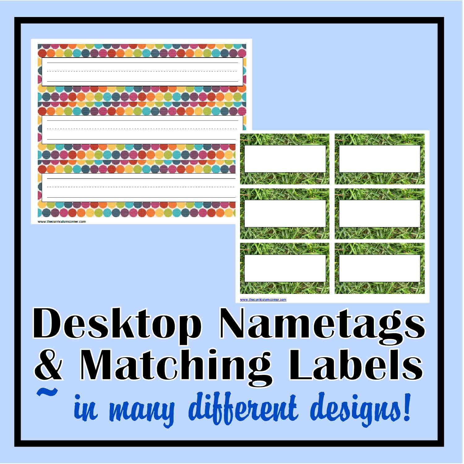 Desk Nametags & Classroom Labels - The Curriculum Corner 123 - Free Printable Desk Name Plates For Students