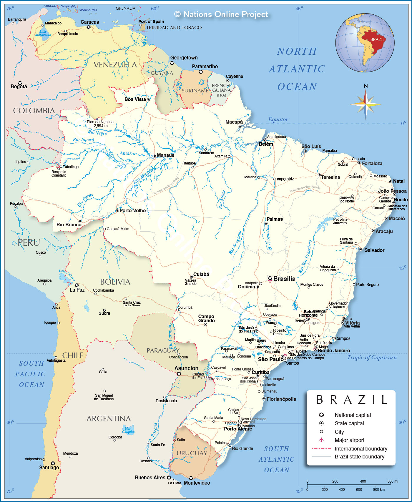 Detailed Map Of Brazil - Nations Online Project - Free Printable Map Of Brazil
