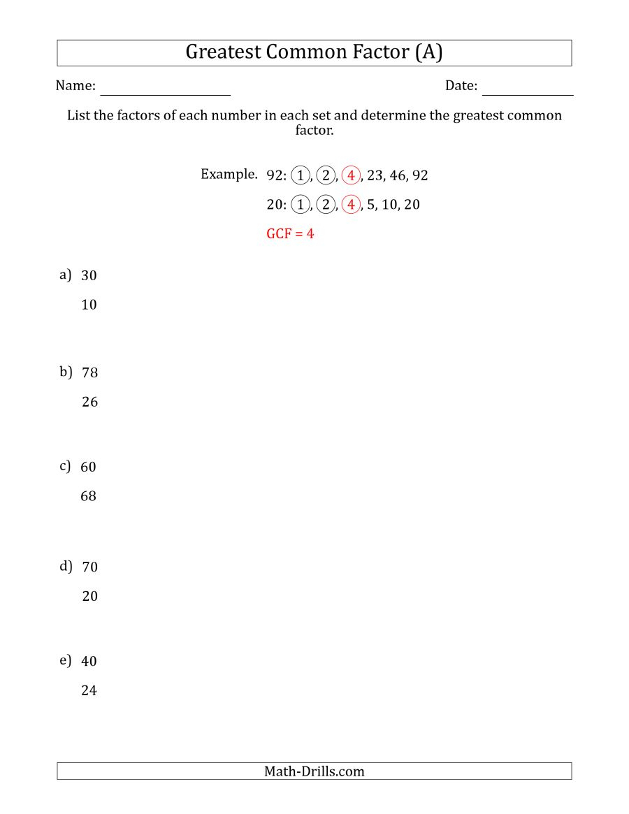 Determining Greatest Common Factors Of Sets Of Two Numbers From 4 To - Free Printable Greatest Common Factor Worksheets