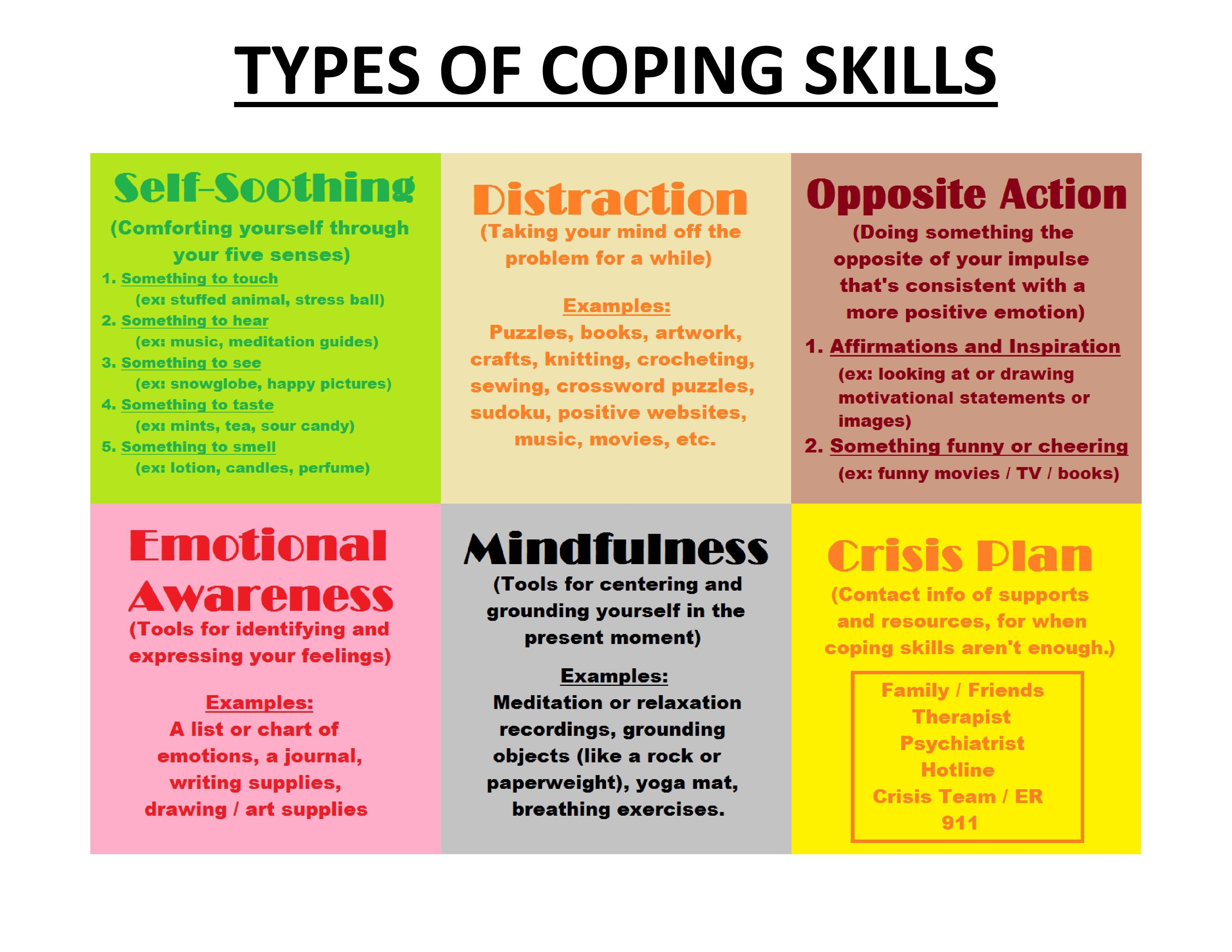 Different Types Of Coping Skills - Self-Soothing, Distraction - Free Printable Coping Skills Worksheets