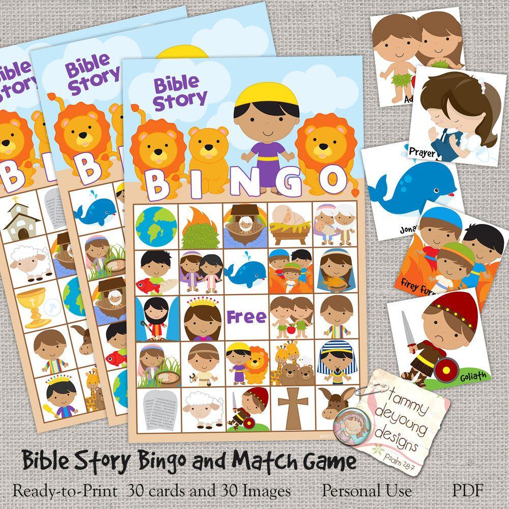 Digital Bible Bingo, Printable Sunday School Bingo Game, Jesus Bingo - Free Printable Bible Bingo For Preschoolers