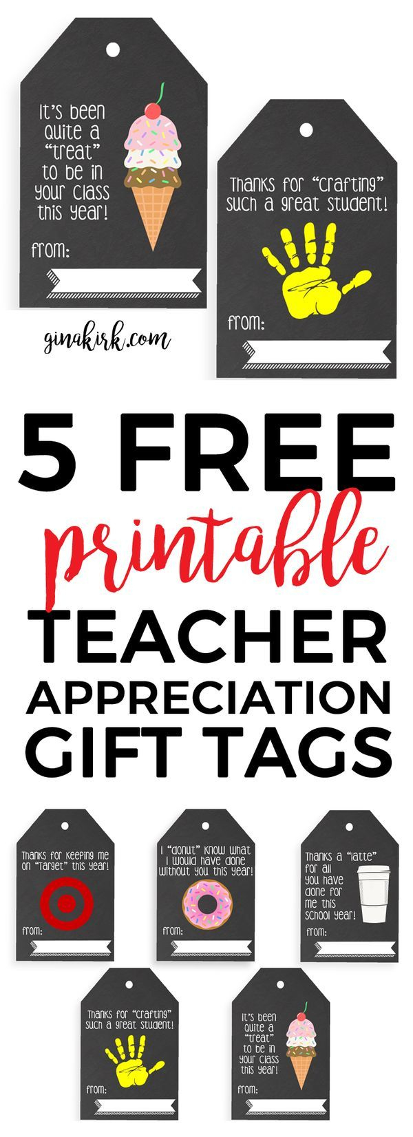 Digital Download: Teacher Appreciation Tags | Teacher Appreciation - Free Printable Tags For Teacher Appreciation