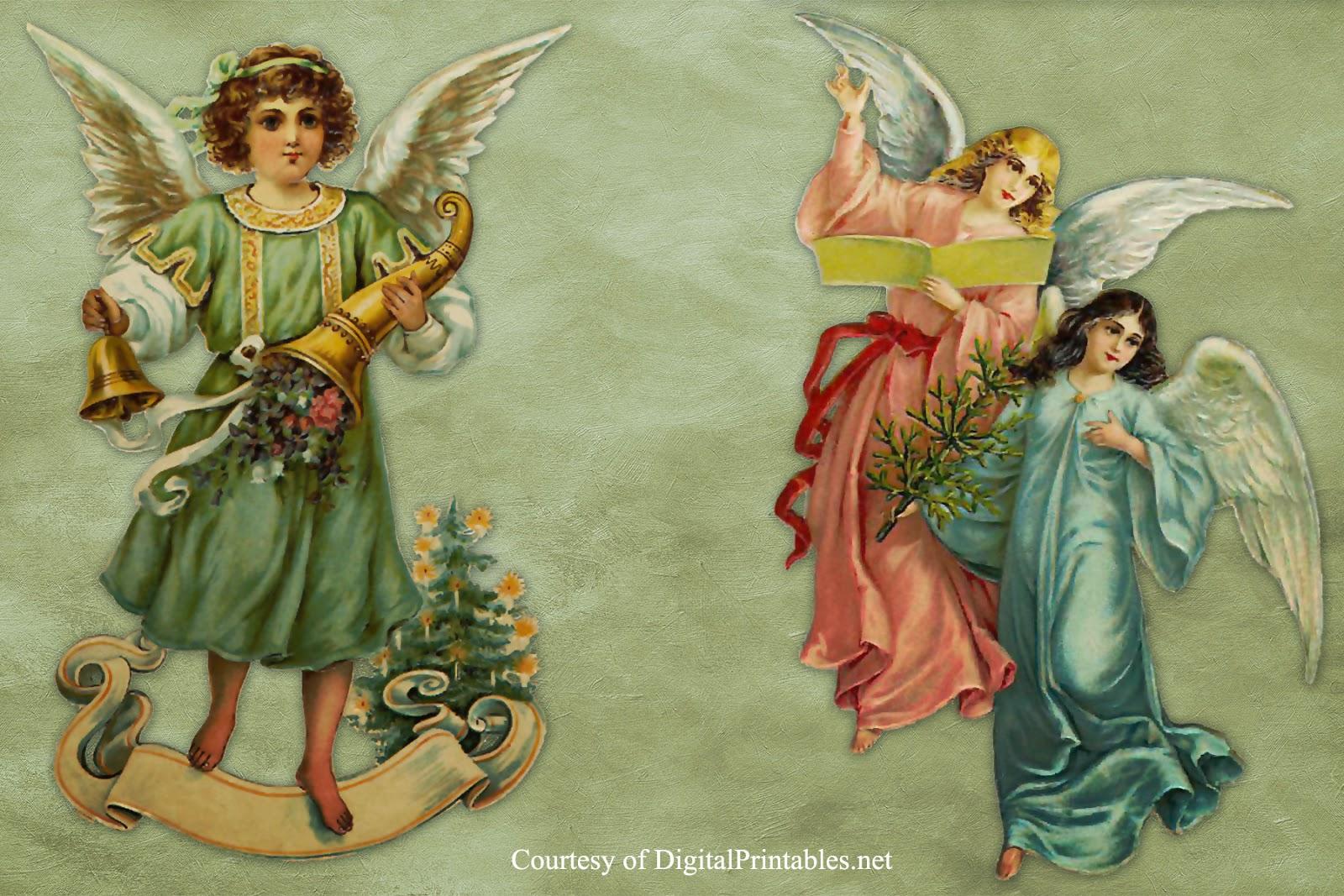 Digital Printables: Free Printable Victorian Christmas Angel Scraps - Free Printable Angels