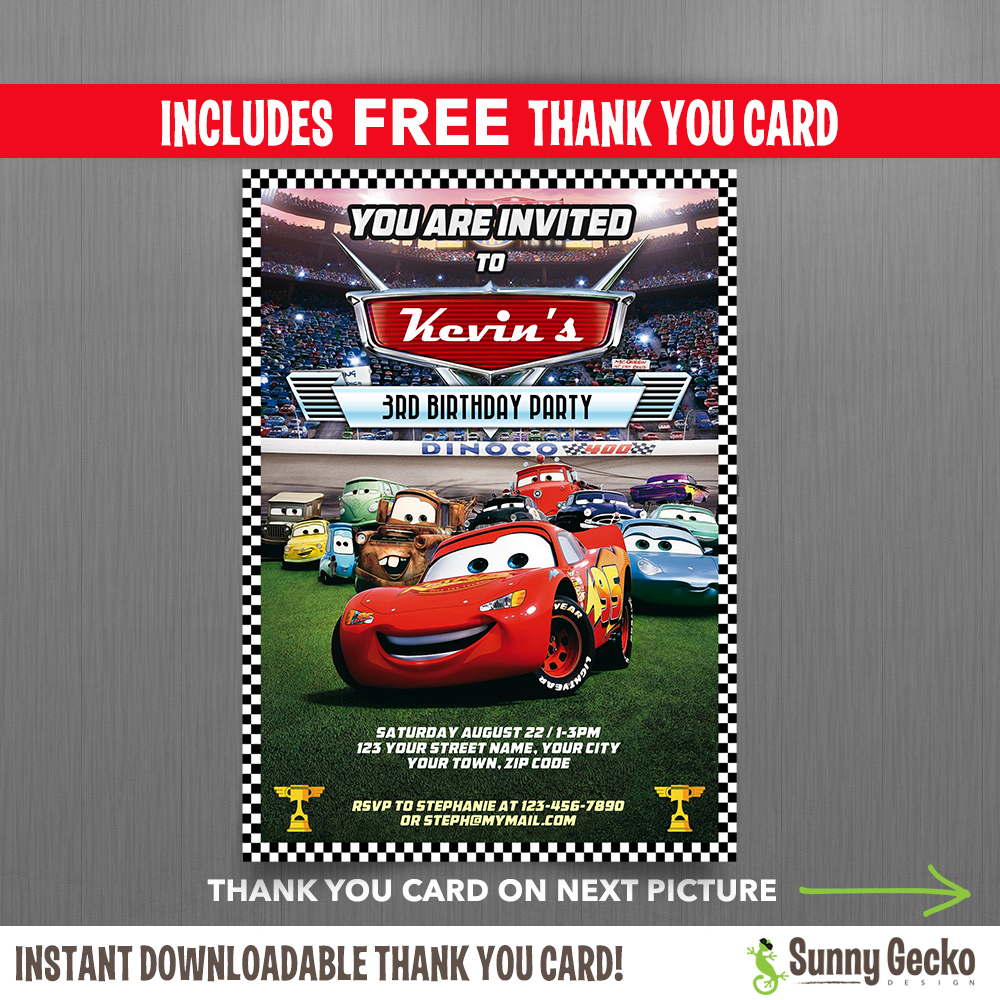 image about Disney Cars Birthday Invitations Printable Free named Disney Automobiles Lightning Mcqueen Birthday Invitation With Free of charge