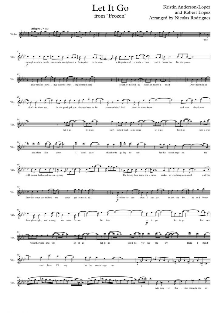 Let It Go Violin Sheet Music Free Printable