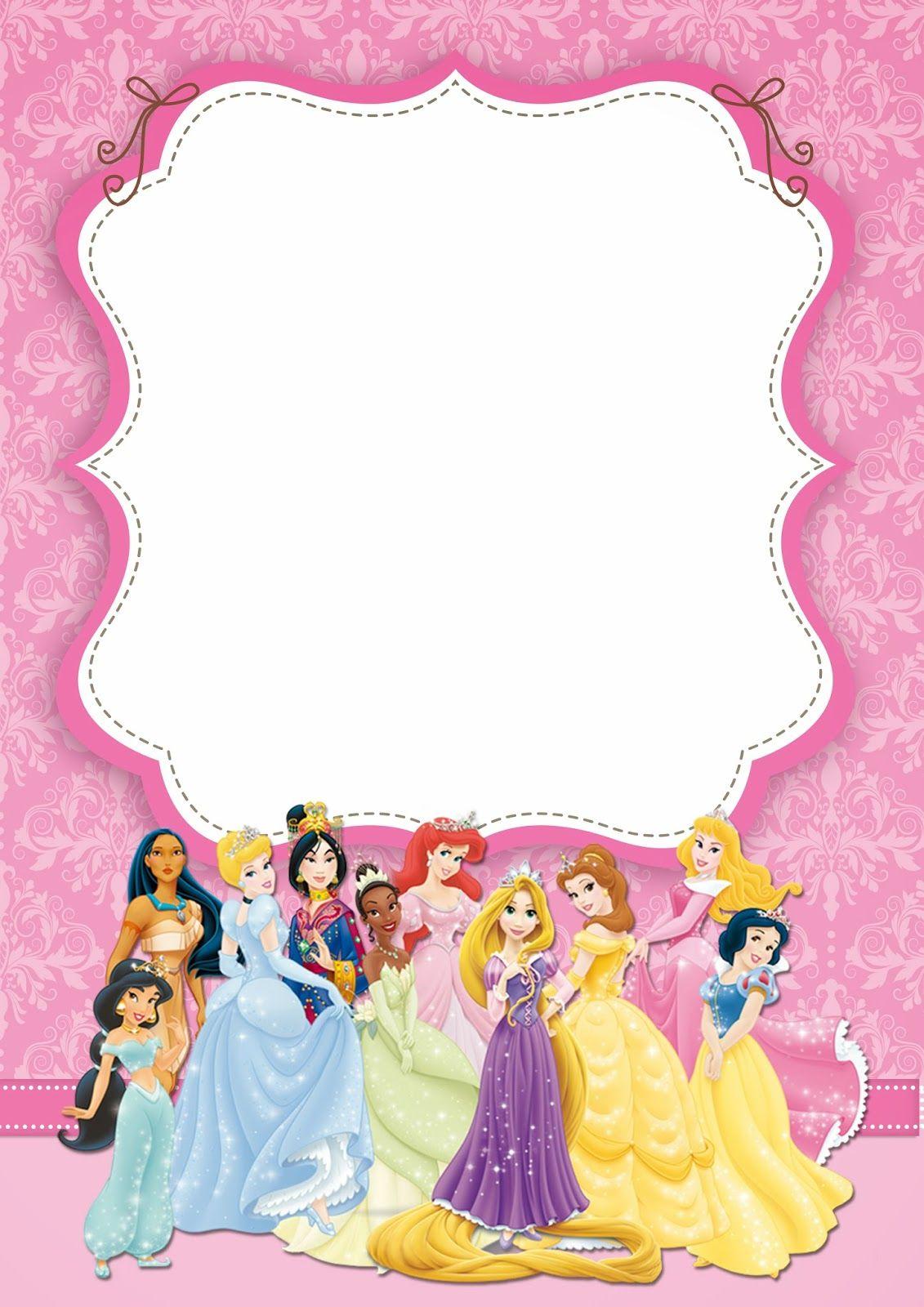 Disney Princess: Free Printable Party Invitations.   Princesse - Disney Princess Free Printable Invitations