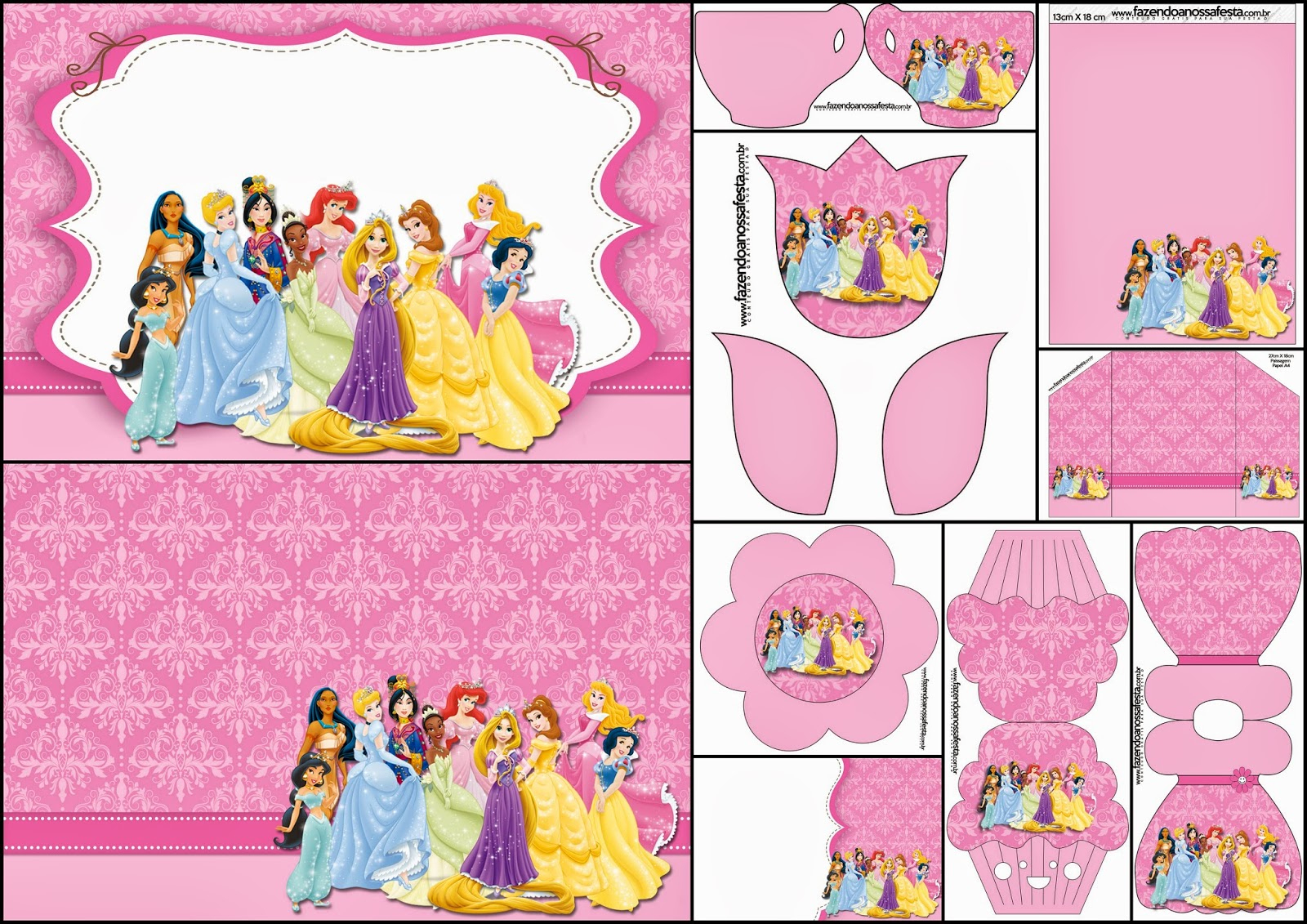 Disney Princess Party: Free Printable Party Invitations. | Oh My - Disney Princess Birthday Invitations Free Printable