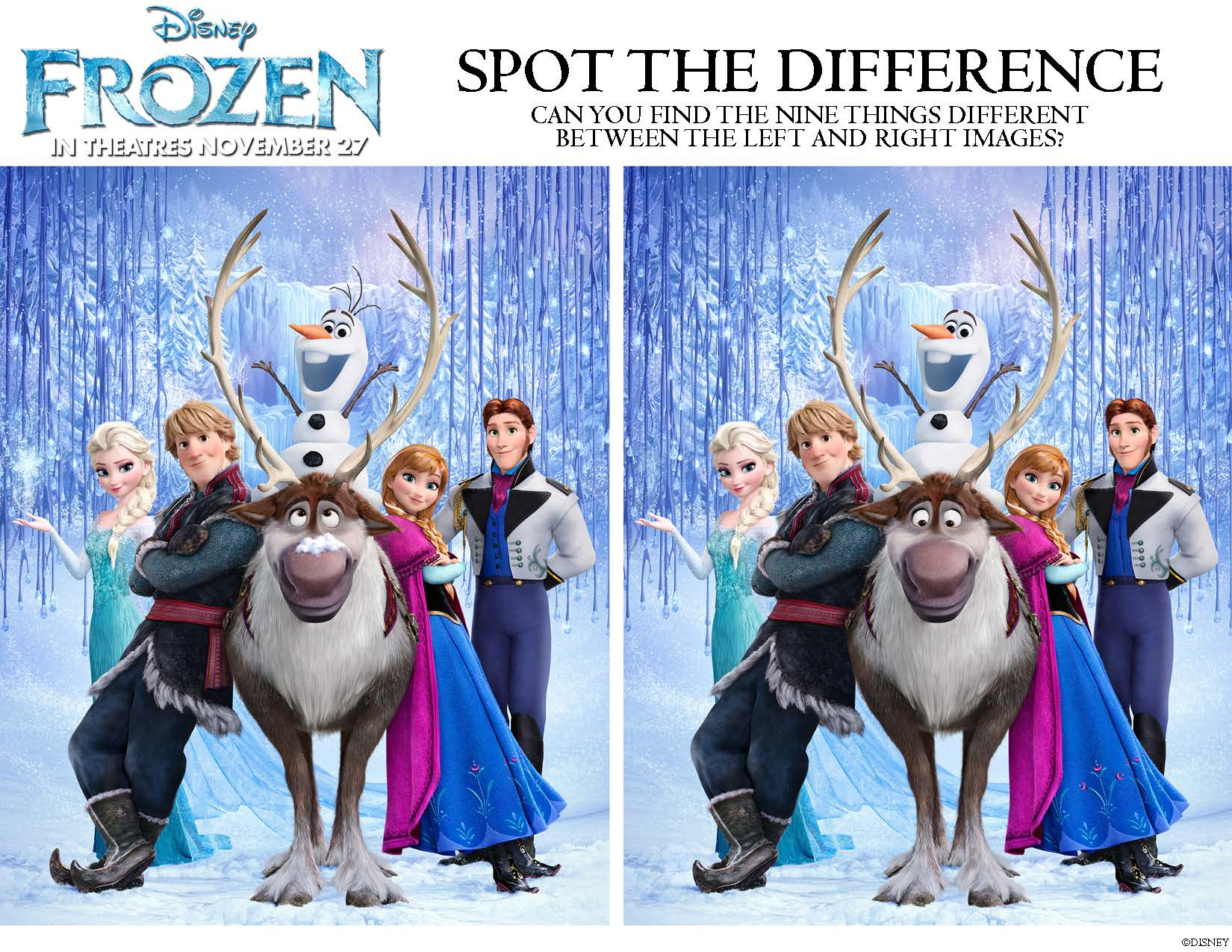 Disney's Frozen: Printable Activities And Games For Kids - Free Printable Spot The Difference For Kids