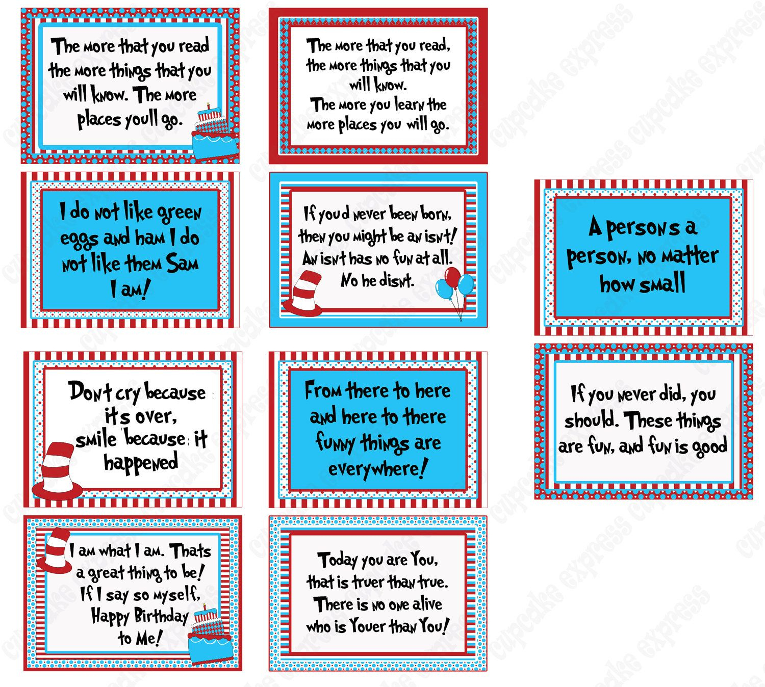 Diy 20 Dr. Seuss Inspired Quote Signs Printable Birthday Party Red - Free Printable Dr Seuss Quotes