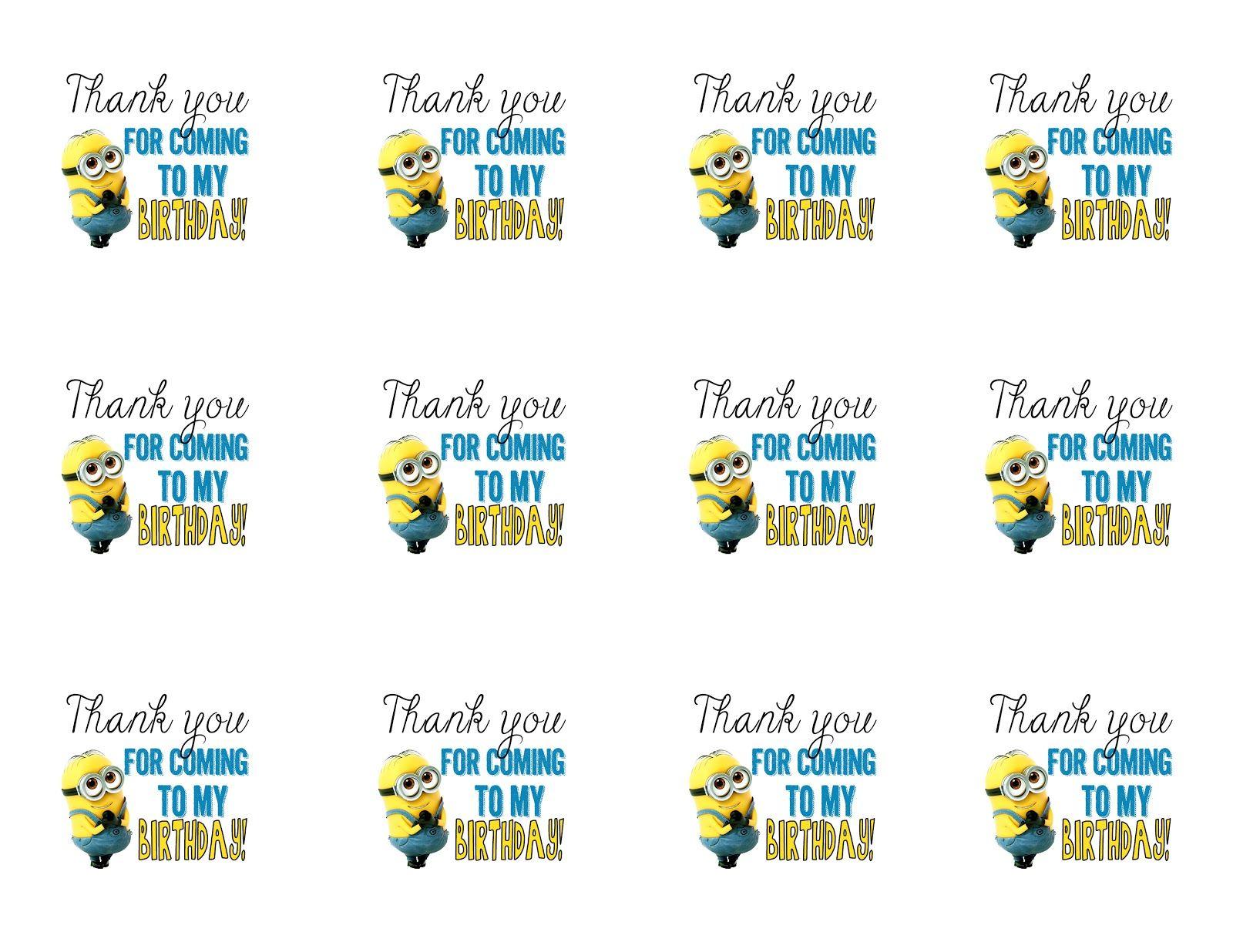 Diy Design Den: Minion Birthday Party With Free Printables. | Minion - Thanks A Minion Free Printable