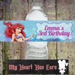 Diy Printable Ariel The Little Mermaid Birthday Water Bottle Labels   Free Printable Little Mermaid Water Bottle Labels