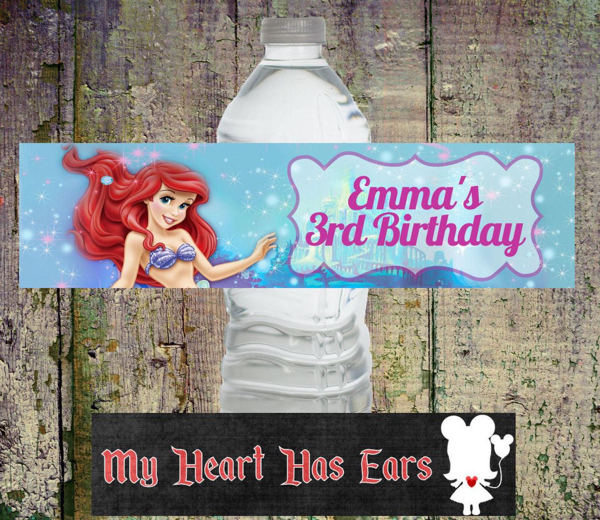 Diy Printable Ariel The Little Mermaid Birthday Water Bottle Labels - Free Printable Little Mermaid Water Bottle Labels