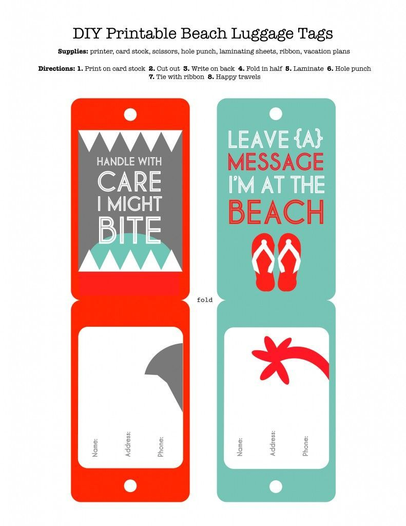 Diy Printable Beach Luggage Tags | Free Printables | Pinterest - Free Printable Luggage Tags