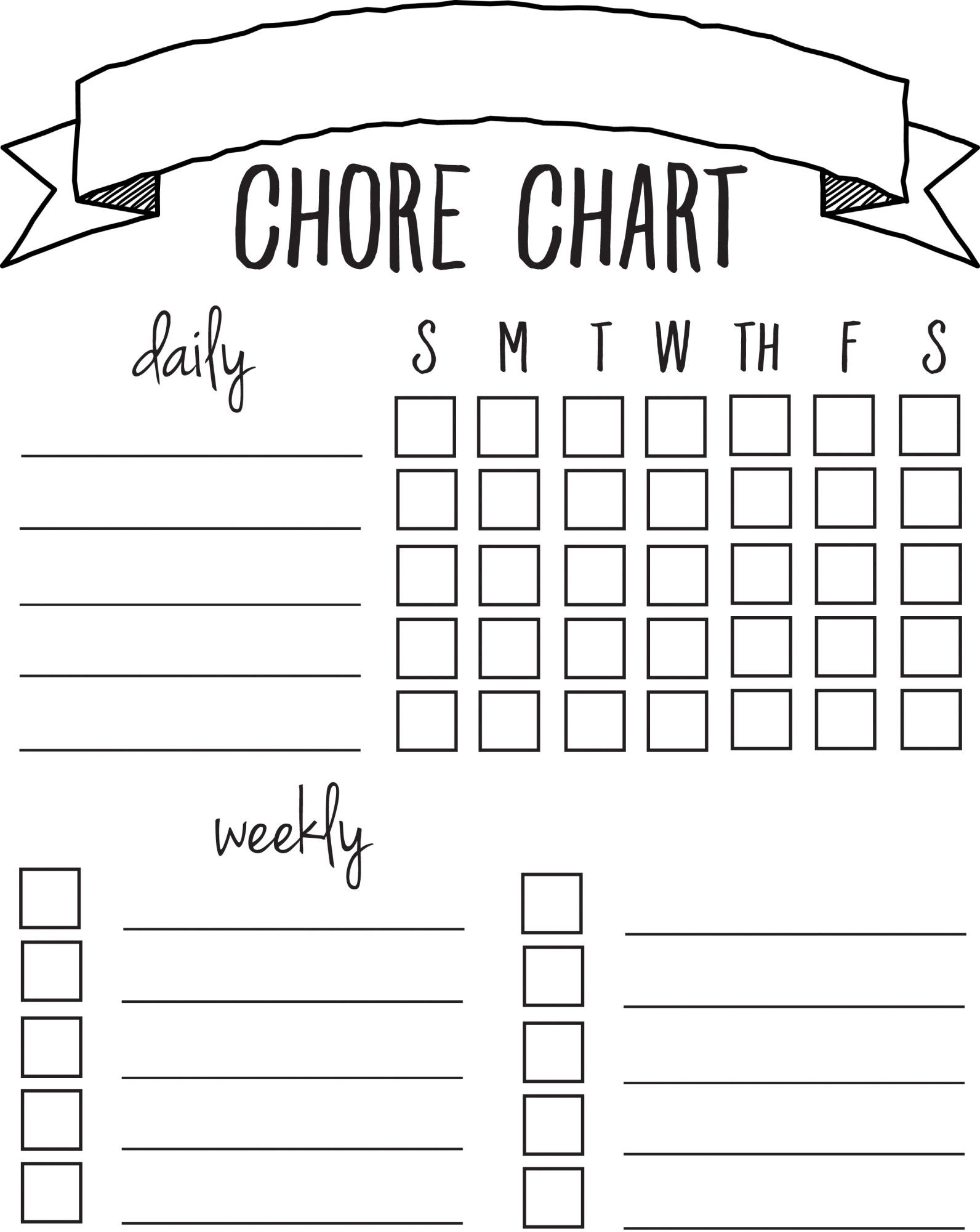 Diy Printable Chore Chart   Free Printables Nov/feb   Pinterest - Free Printable Charts And Lists