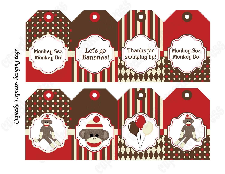 Diy Sock Monkey Red Brown Printable Party Water Bottle Labels Wraps - Free Printable Sock Monkey Clip Art