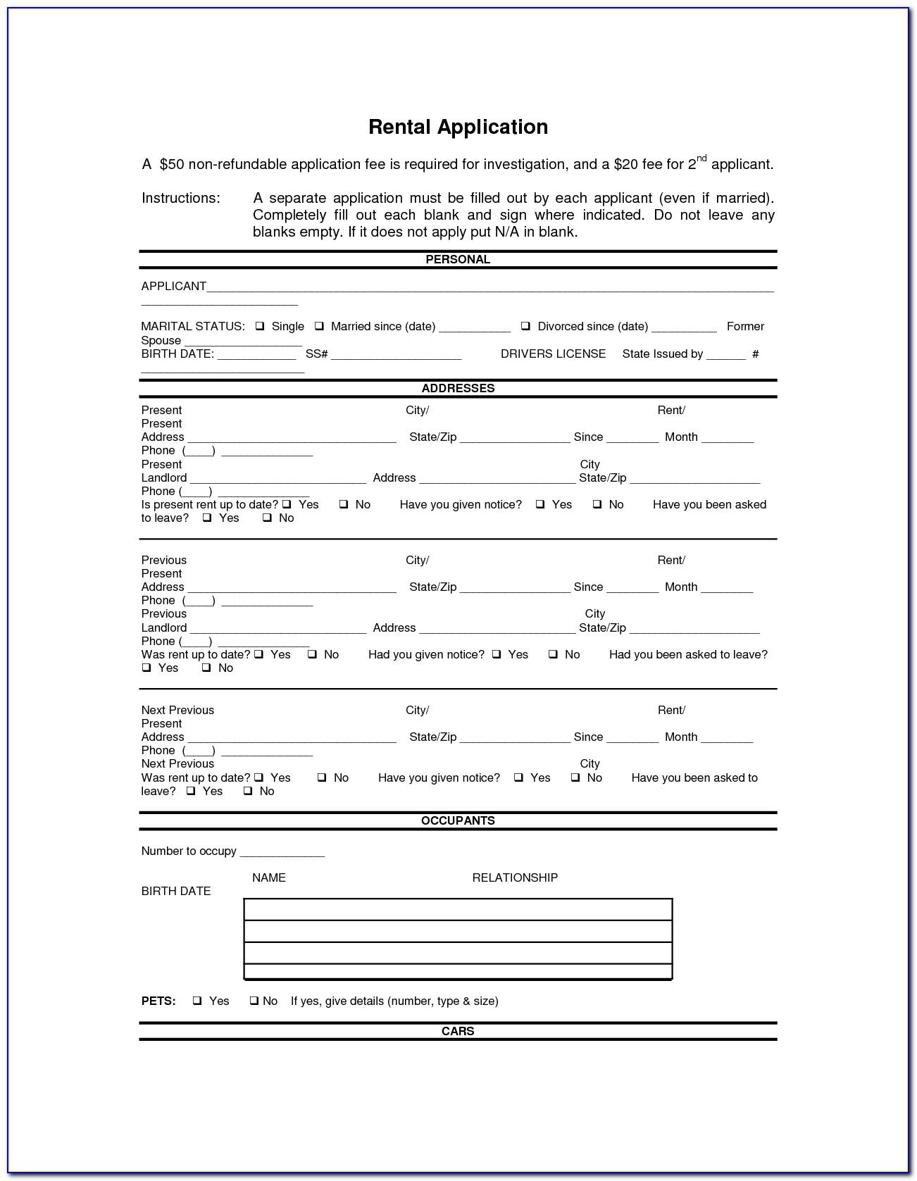 Doc.#592799: Printable Rental Agreement Forms – Free Rental Forms - Free Printable Rental Application Form