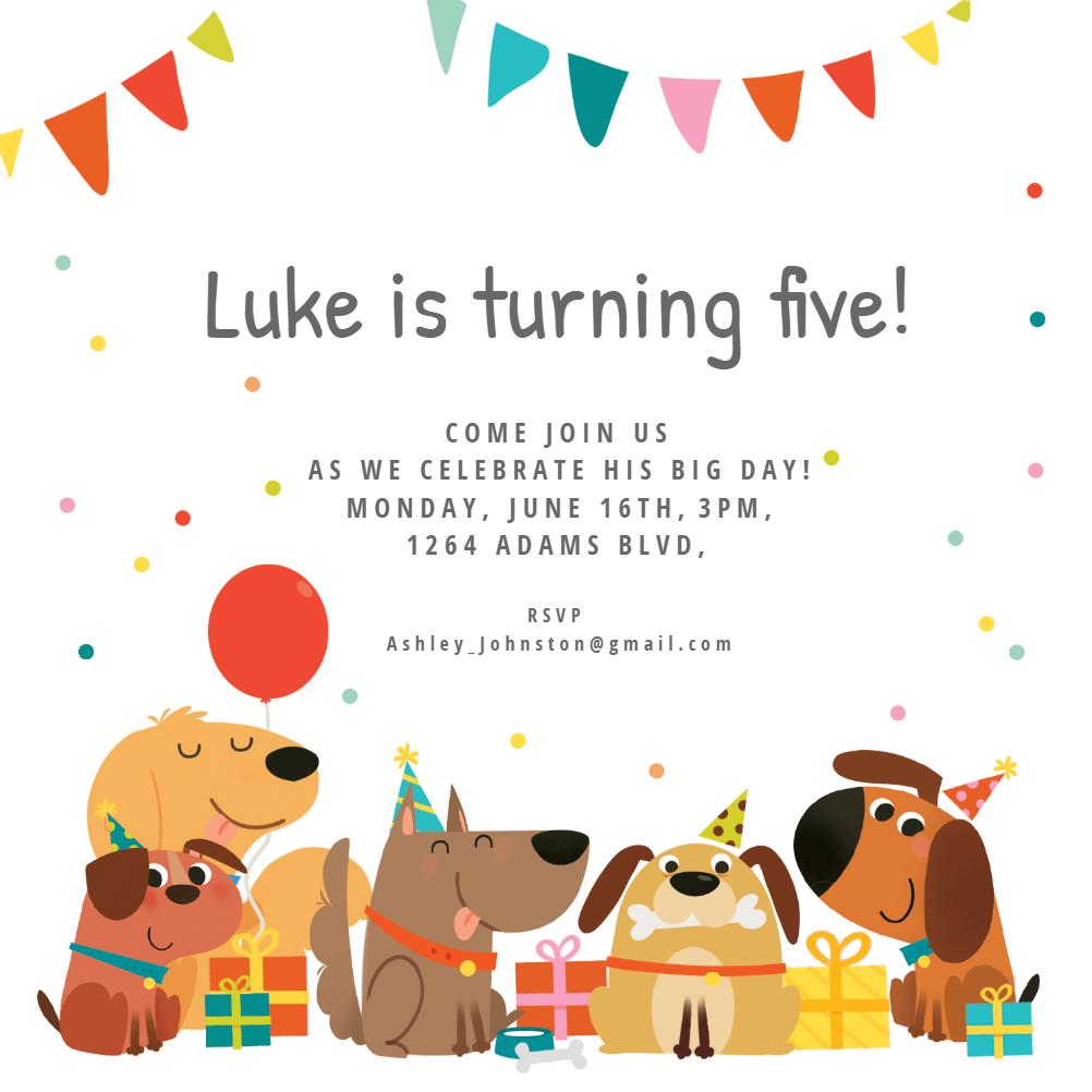 Dog Birthday Invitation Template (Free)   Greetings Island - Free Printable Puppy Dog Birthday Invitations