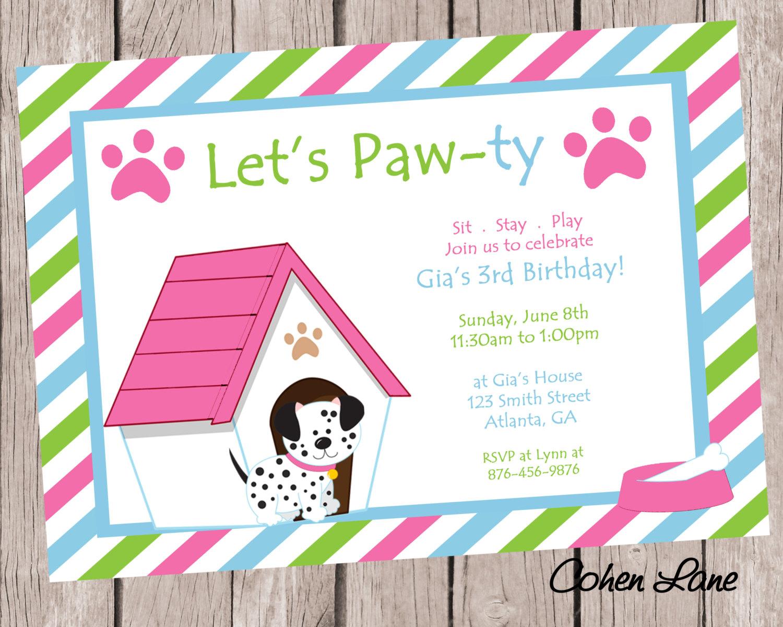 Dog Birthday Party Invitations Dog Birthday Party Invitations For - Dog Birthday Invitations Free Printable