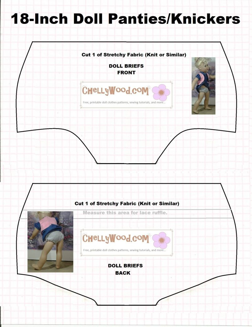 Doll Underwear Pattern (Briefs) To Fit 18 Inch Dolls Like American - Free Printable Doll Clothes Patterns For 18 Inch Dolls