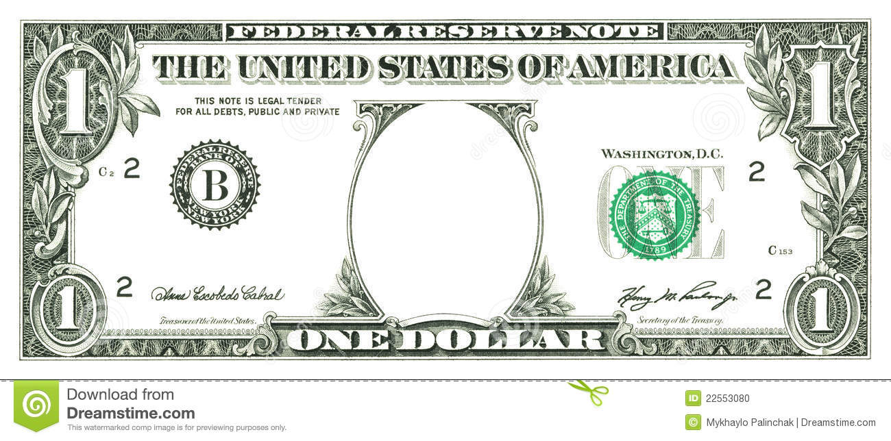 Dollar Bill Template Clipart - Free Printable Dollar Bill Template