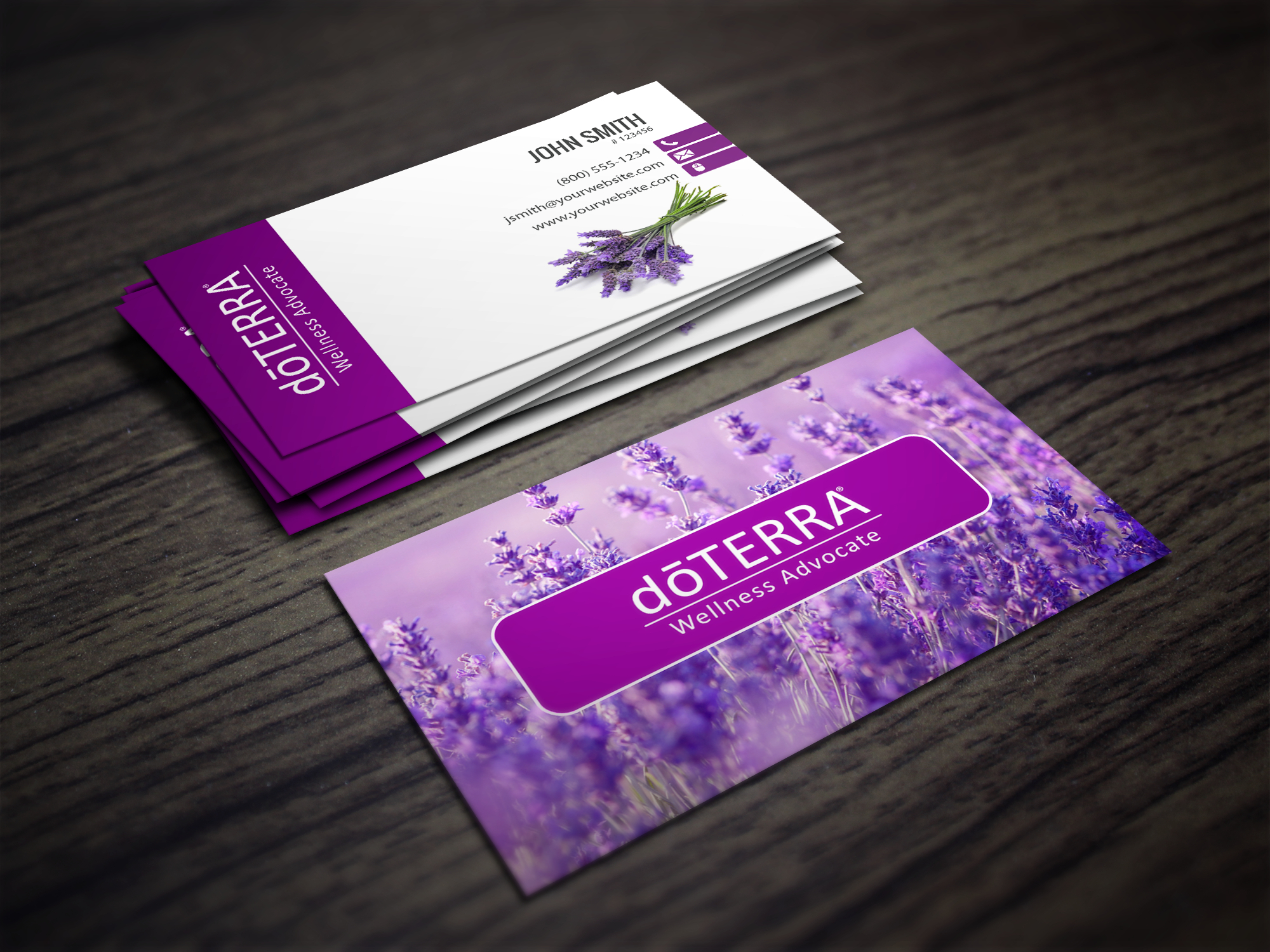 Doterra Business Cards With A Lavendar Field In The Background - Free Printable Doterra Sample Cards