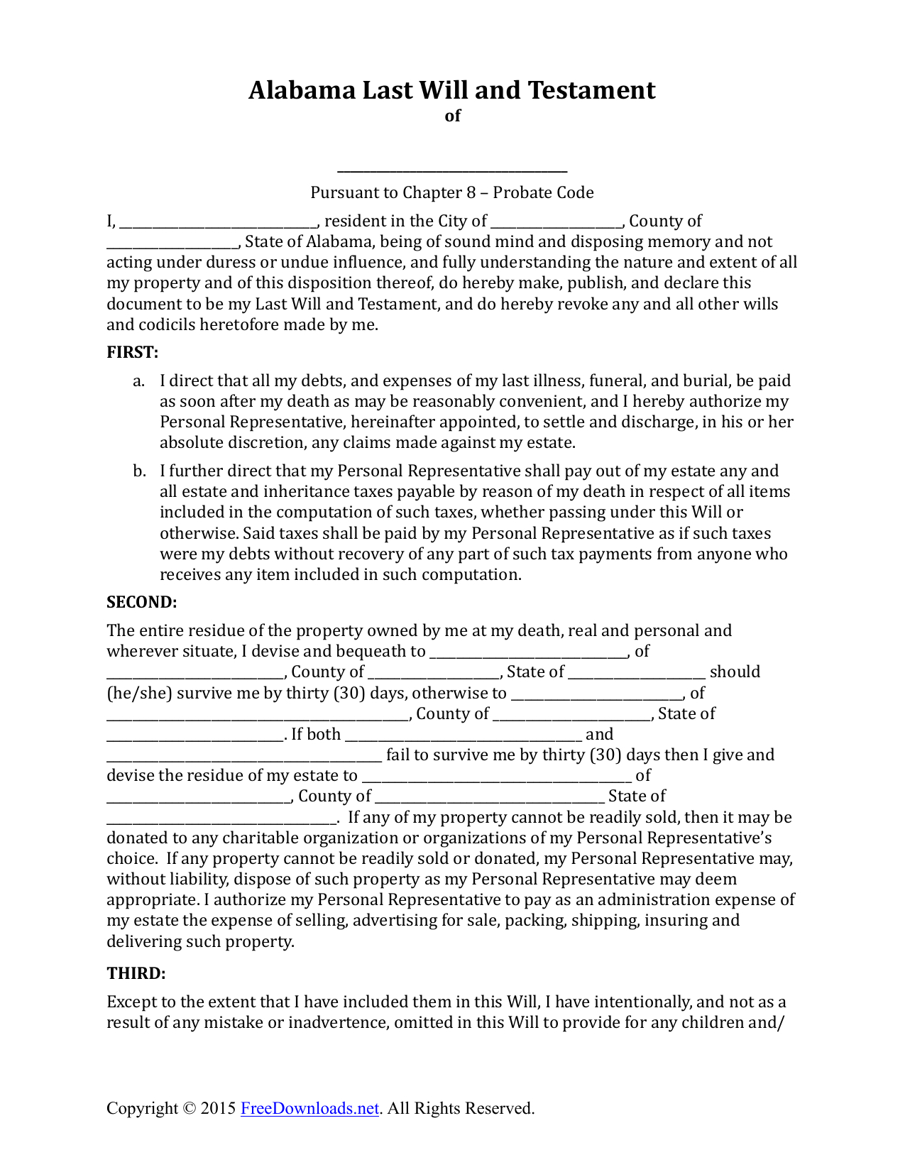 Download Alabama Last Will And Testament Form | Pdf | Rtf | Word - Free Printable Florida Last Will And Testament Form