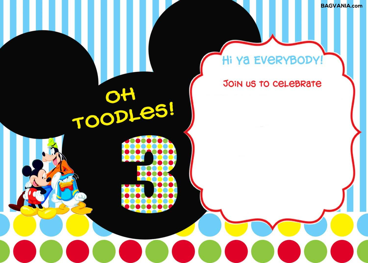 Download Free Printable Mickey Mouse Birthday Invitations | Bagvania - Free Printable Mickey Mouse Invitations