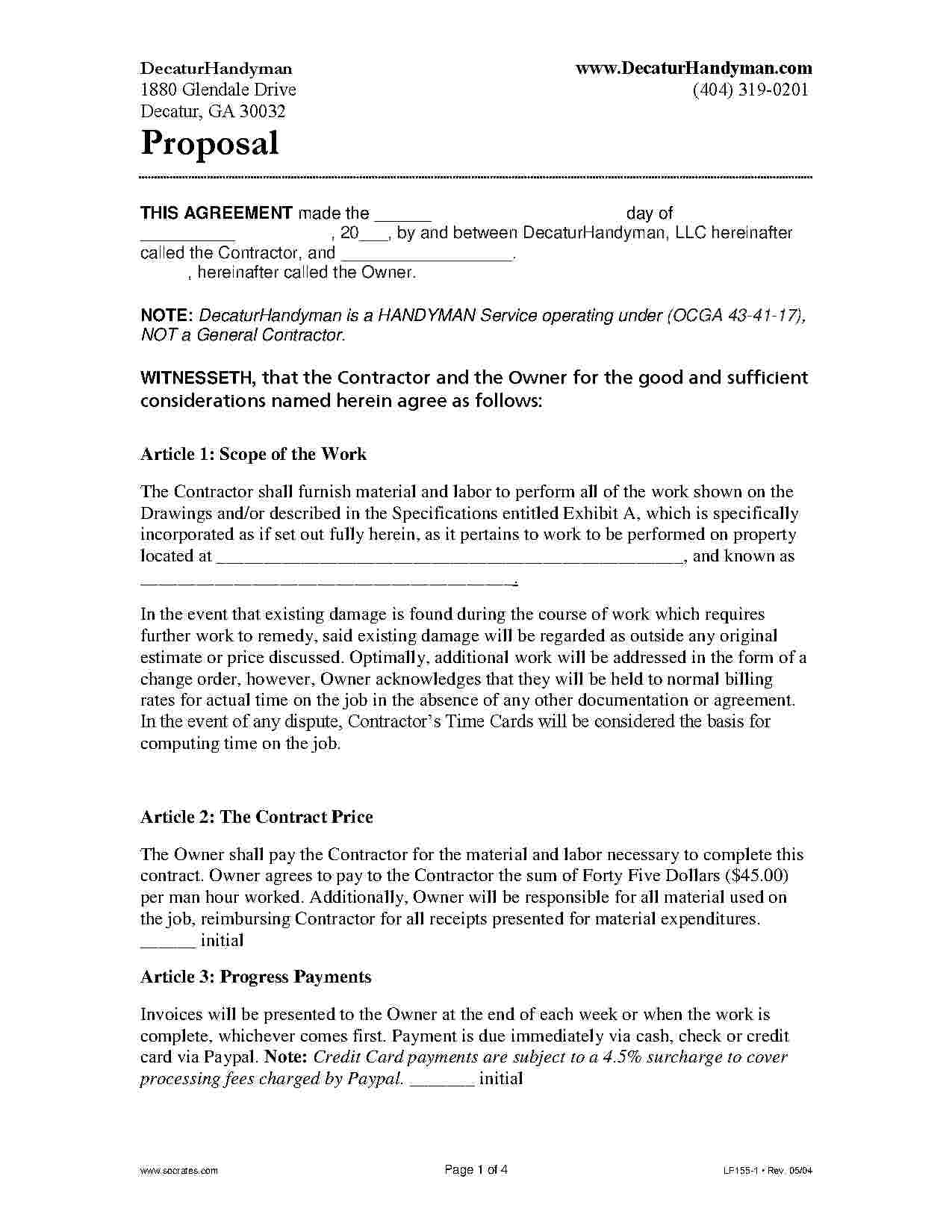 Download Handyman Contract Style 14 Template For Free At Templates - Free Printable Handyman Contracts