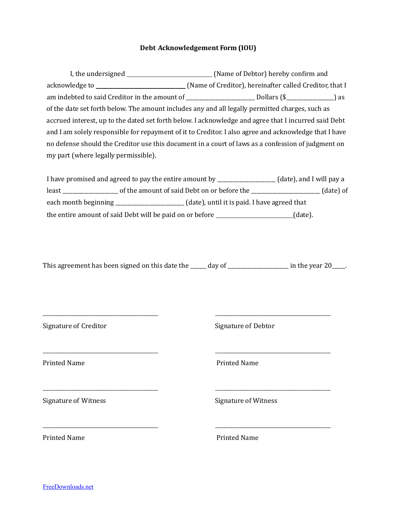Download Iou (I Owe You) Debt Acknowledgment Form | Pdf | Rtf | Word - Free Printable Legal Documents Forms