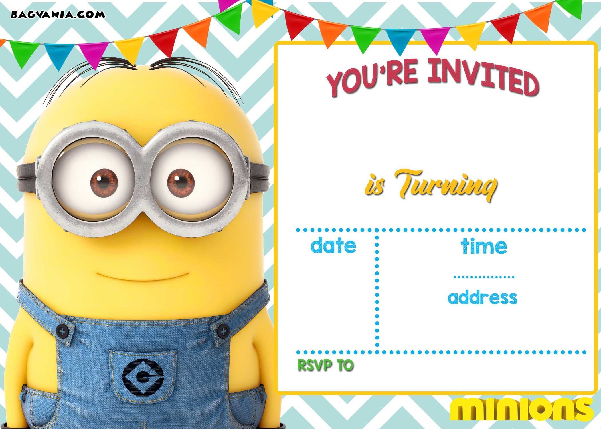 Download Now Free Printable Minion Birthday Invitation Templates - Thanks A Minion Free Printable