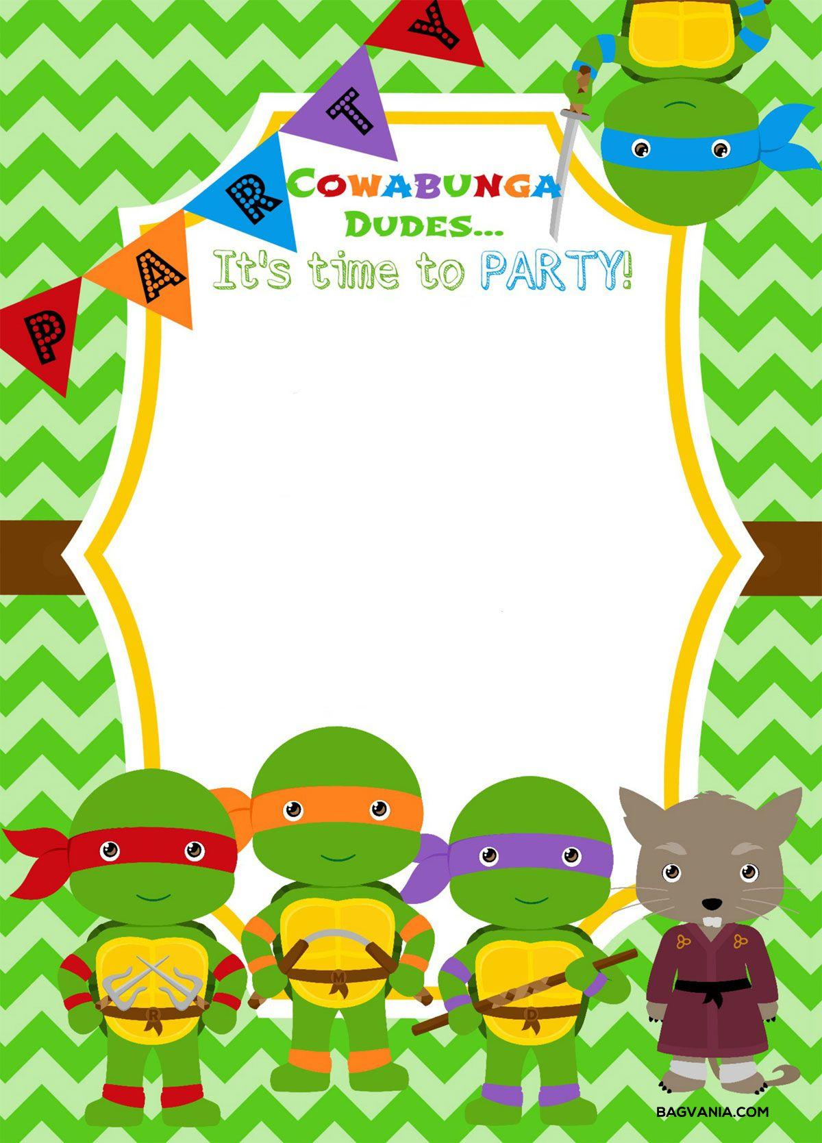 Download Now Free Printable Ninja Turtle Birthday Party Invitations - Free Printable Teenage Mutant Ninja Turtle Cupcake Toppers