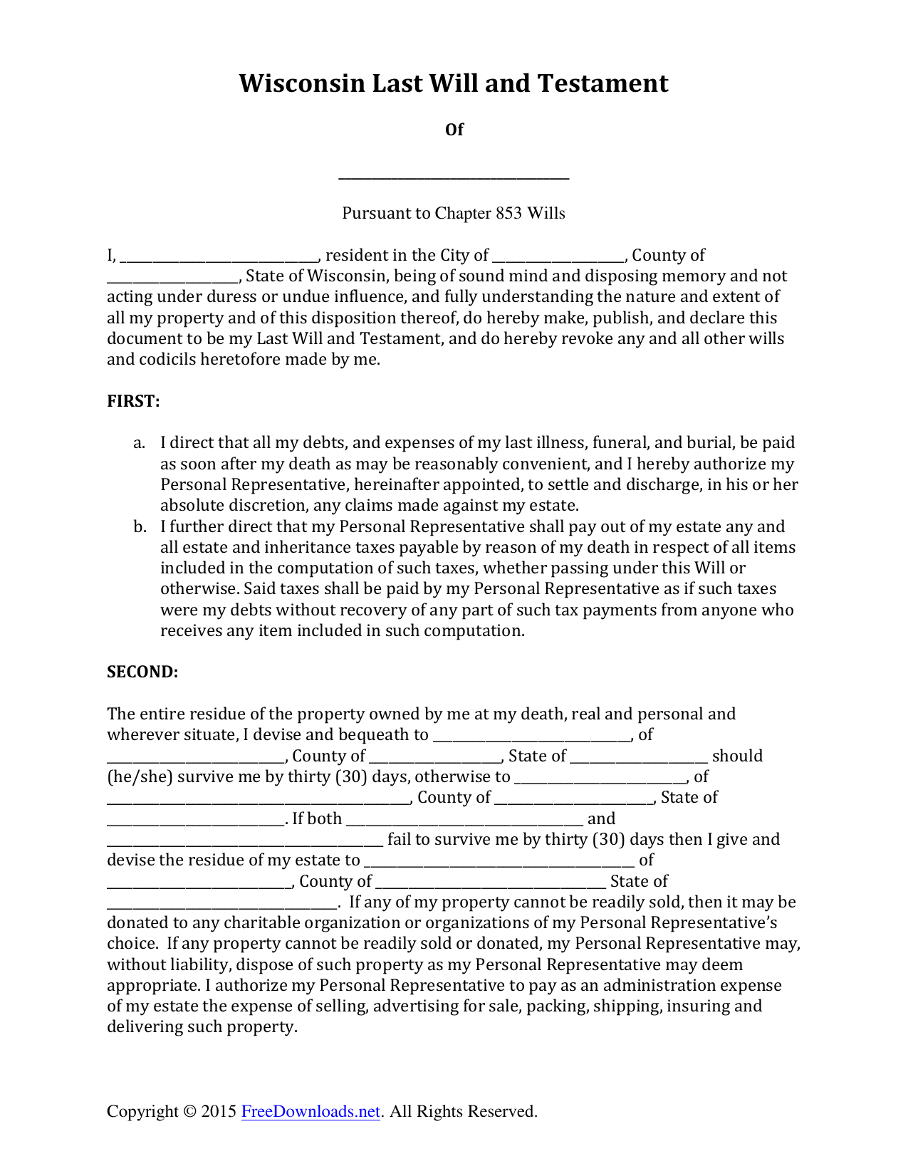 Download Wisconsin Last Will And Testament Form | Pdf | Rtf | Word - Free Printable Will Papers