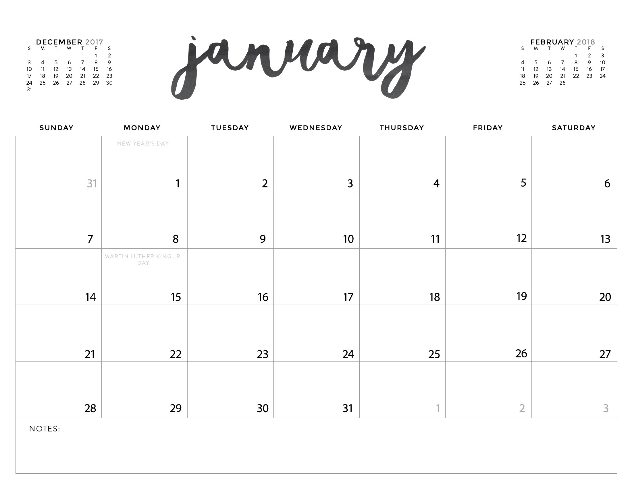 Download Your Free 2018 Printable Calendars Today! There Are 28 - Free Printable Planner 2017 2018