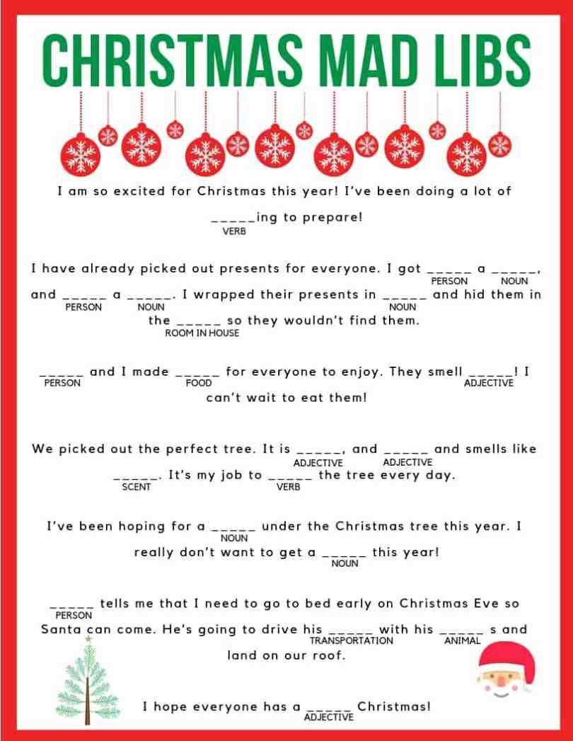 Download Your Free Printable Christmas Mad Libs! Kids And Adults Of - Christmas Mad Libs Printable Free