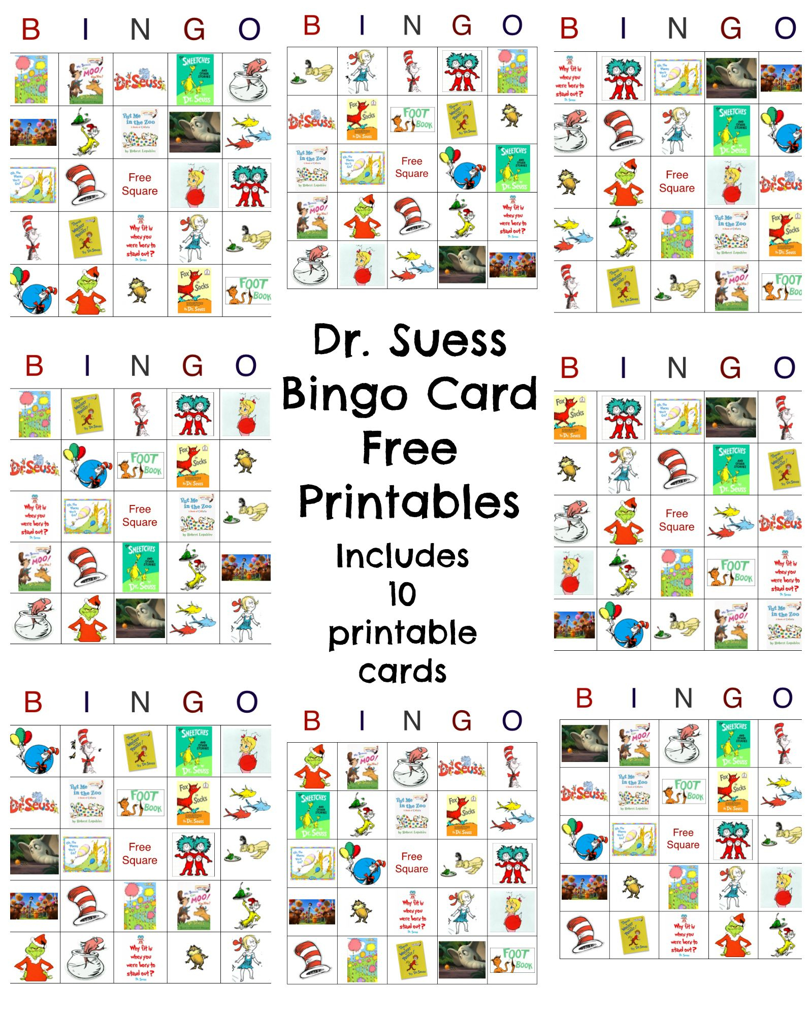 Dr Seuss Bingo Game Free Printable | Best Crafts And Diy | Pinterest - Free Printable Dr Who Birthday Card